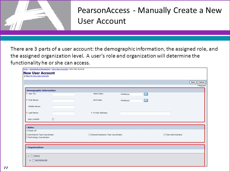PearsonAccess - Manually Create a New User Account