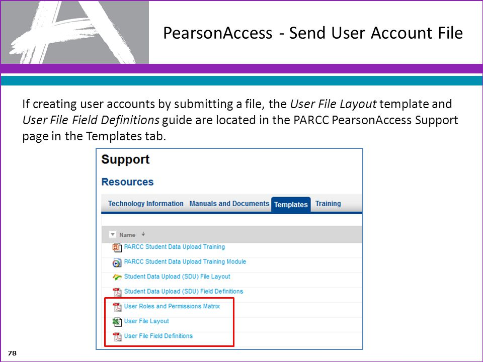 PearsonAccess - Send User Account File