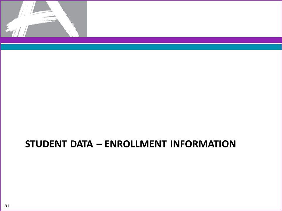 Student Data – Enrollment information