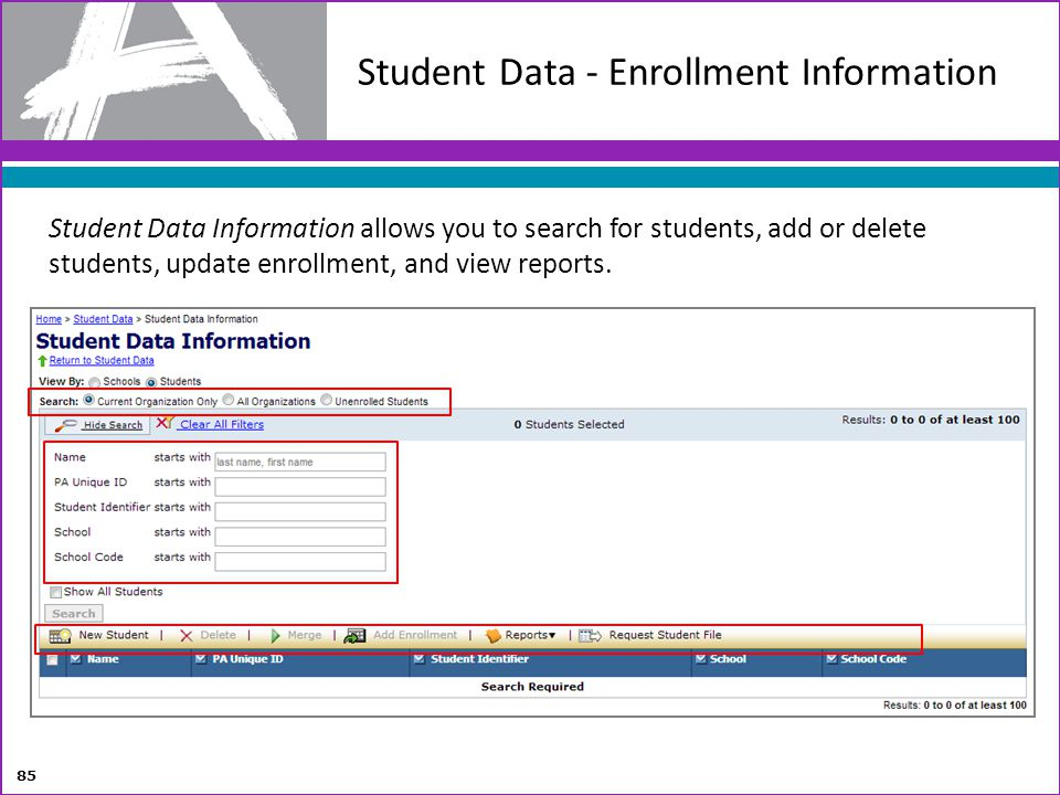 Student Data - Enrollment Information