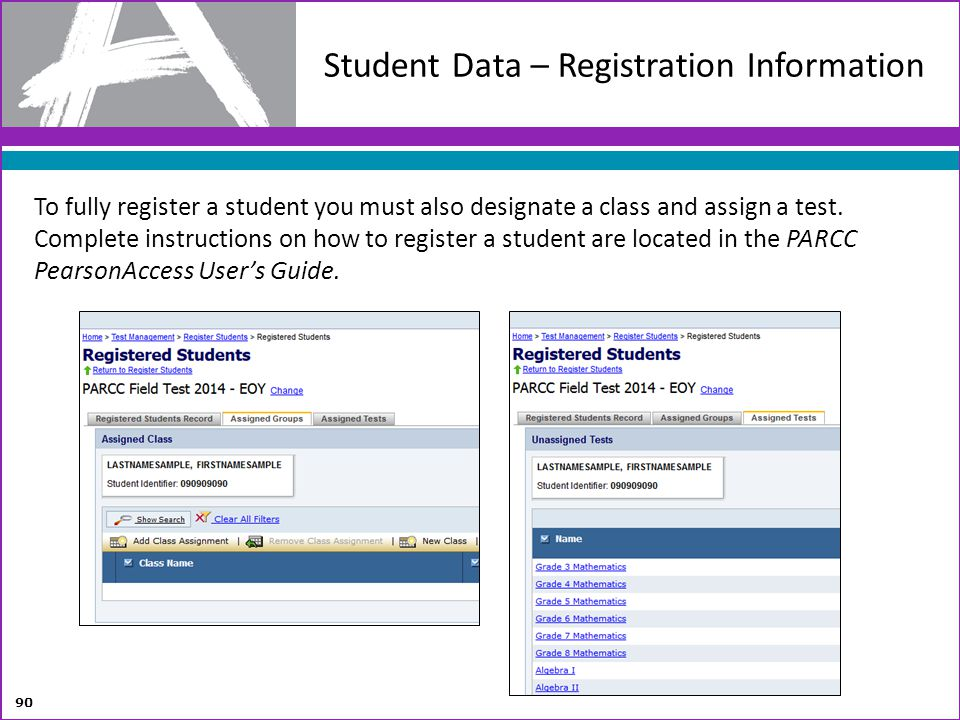 Student Data – Registration Information