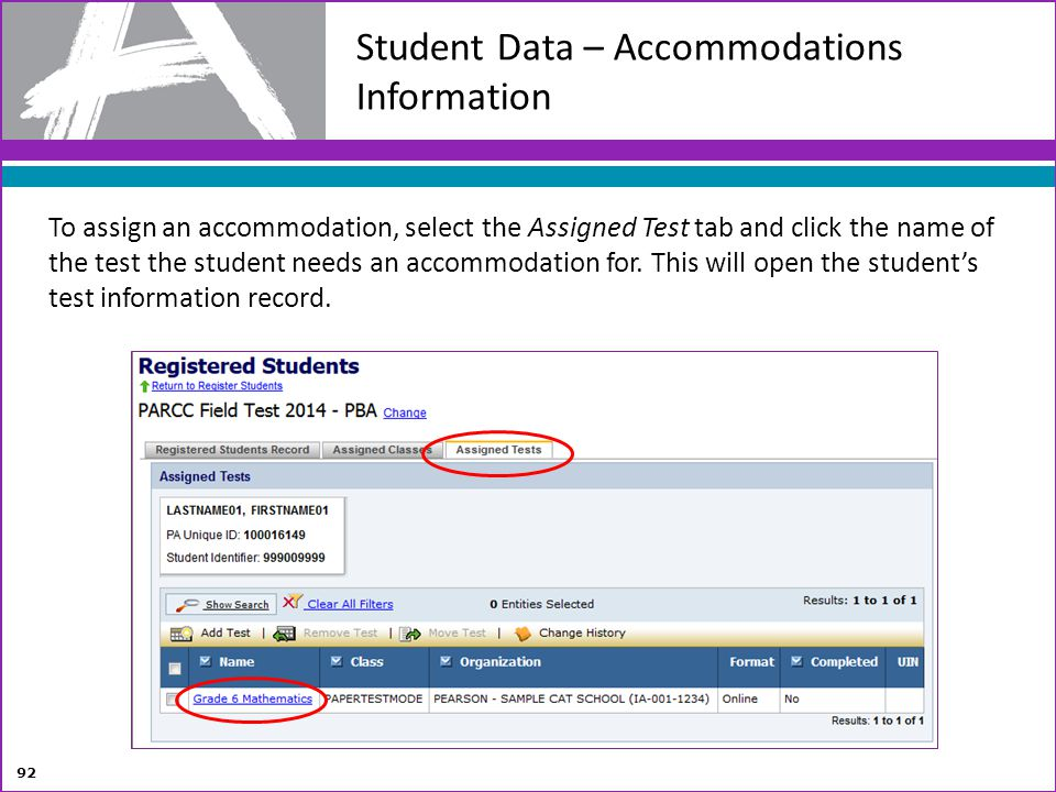 Student Data – Accommodations Information