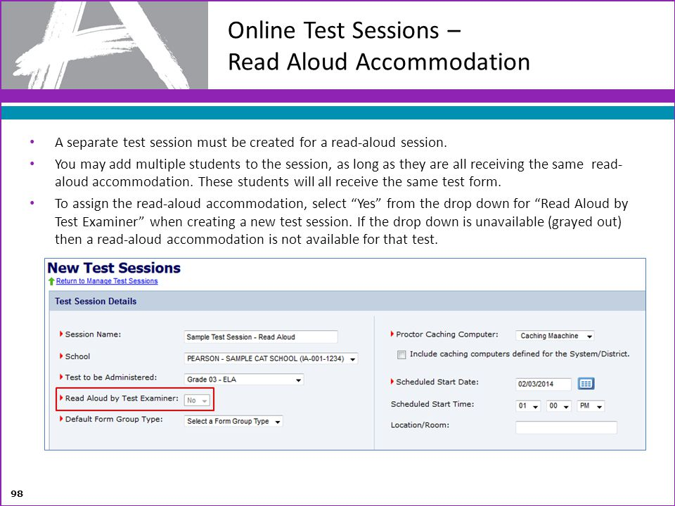 Online Test Sessions – Read Aloud Accommodation