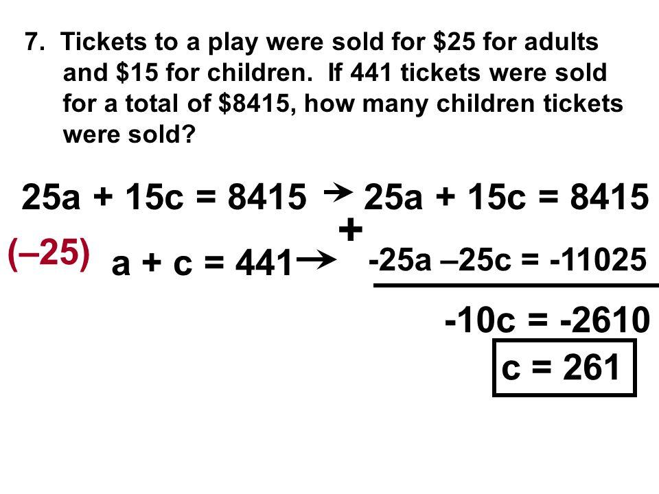 + 25a + 15c = 8415 25a + 15c = 8415 (–25) a + c = 441 -10c = -2610