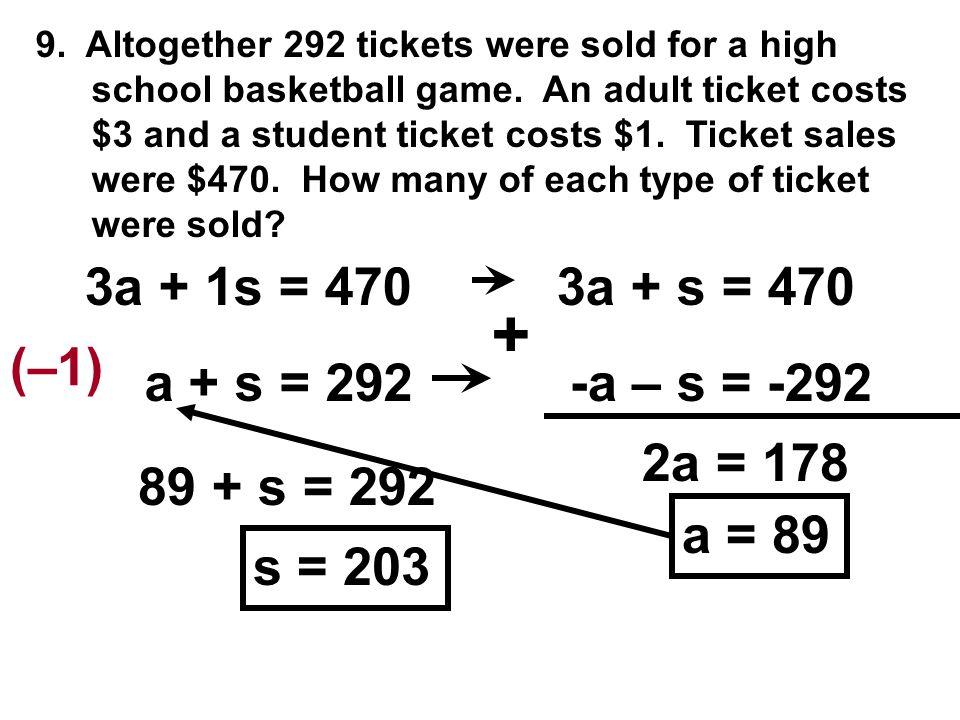 + 3a + 1s = 470 3a + s = 470 (–1) a + s = 292 -a – s = -292 2a = 178