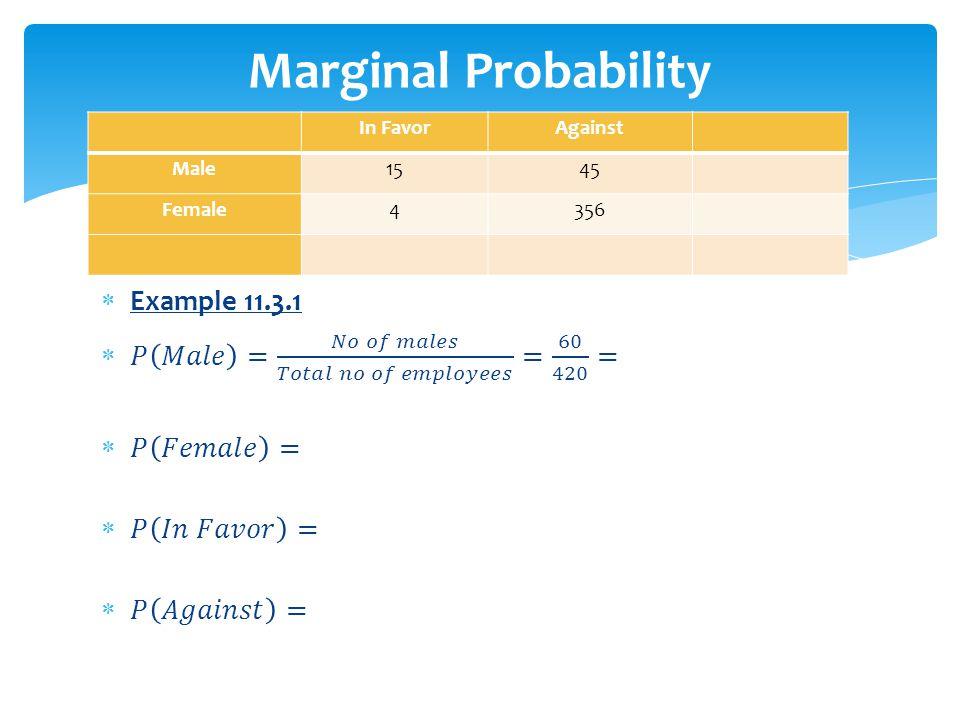 Marginal Probability Example 11.3.1