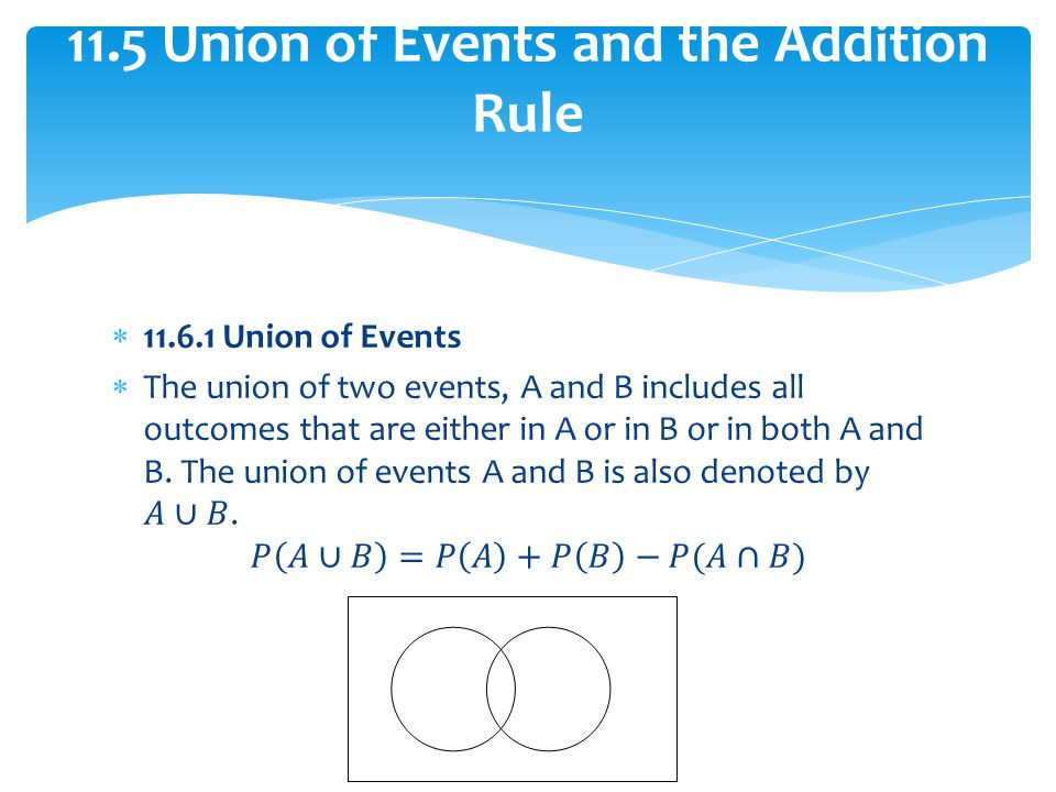 11.5 Union of Events and the Addition Rule