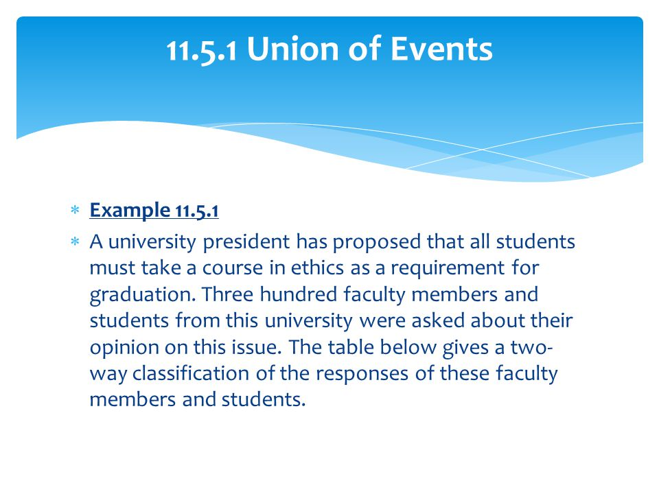 11.5.1 Union of Events Example 11.5.1