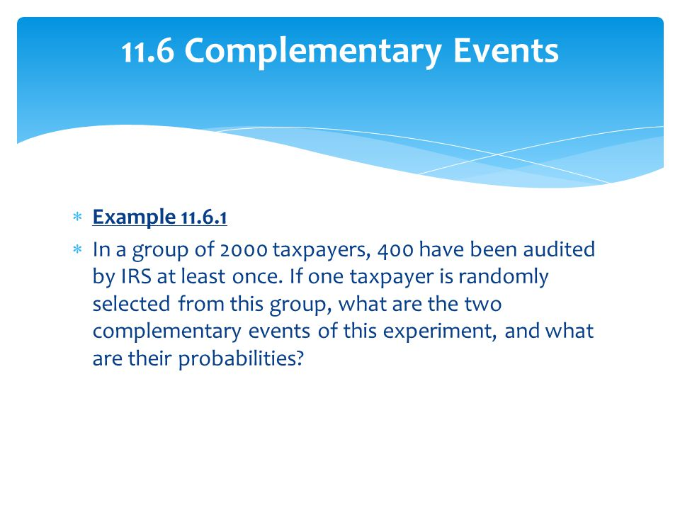 11.6 Complementary Events Example 11.6.1