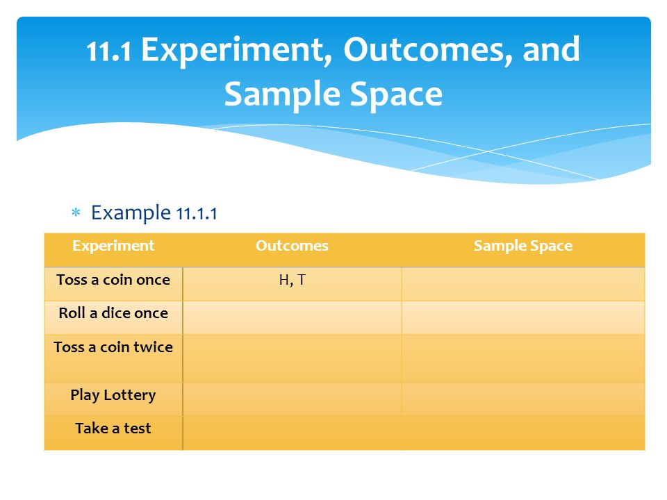 11.1 Experiment, Outcomes, and Sample Space