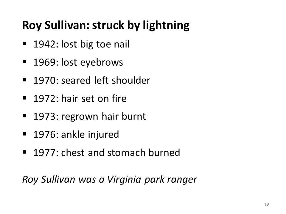 Roy Sullivan: struck by lightning