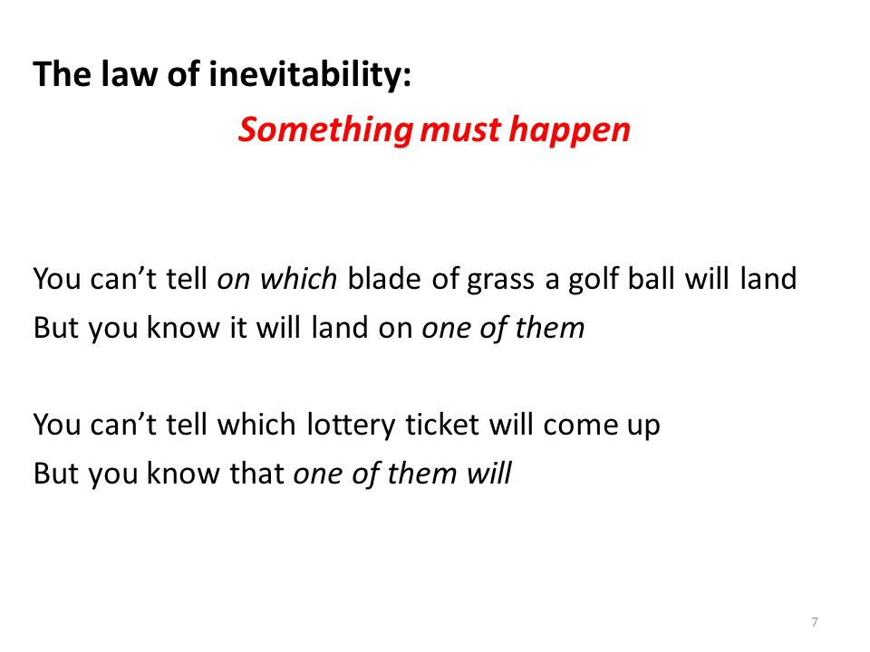 The law of inevitability: Something must happen