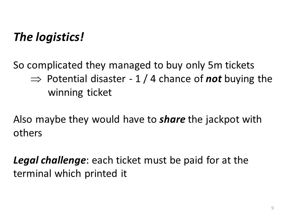 The logistics! So complicated they managed to buy only 5m tickets