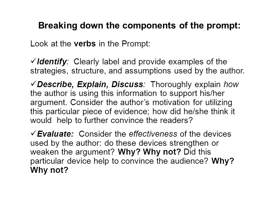 Breaking down the components of the prompt: