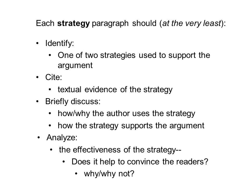 Each strategy paragraph should (at the very least):