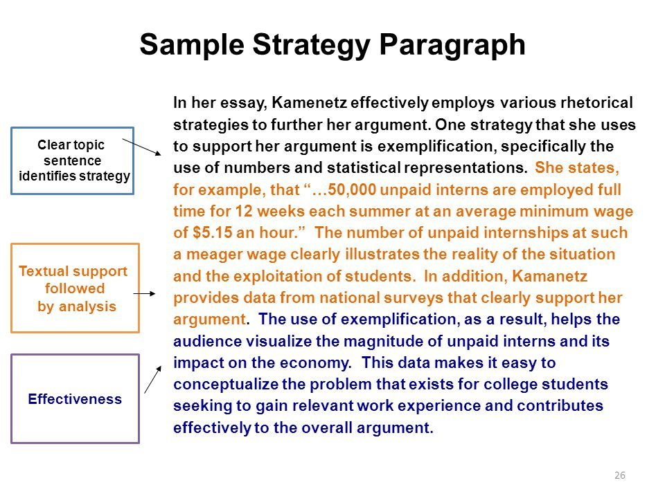 Sample Strategy Paragraph