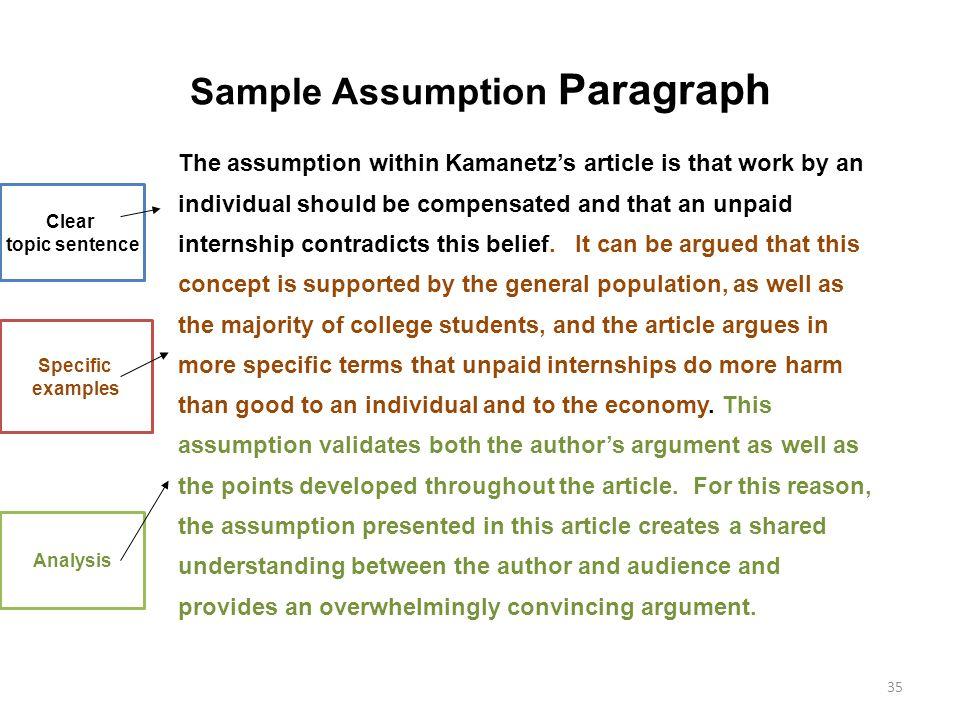 Sample Assumption Paragraph