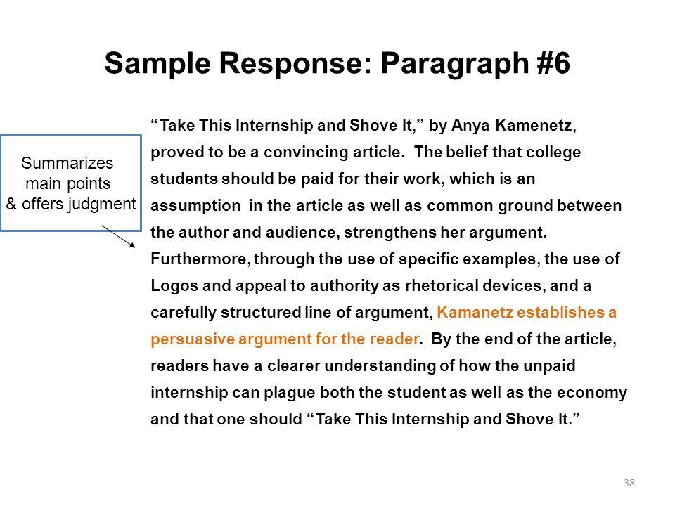 Sample Response: Paragraph #6