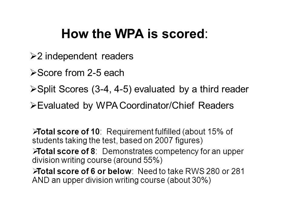 How the WPA is scored: 2 independent readers Score from 2-5 each