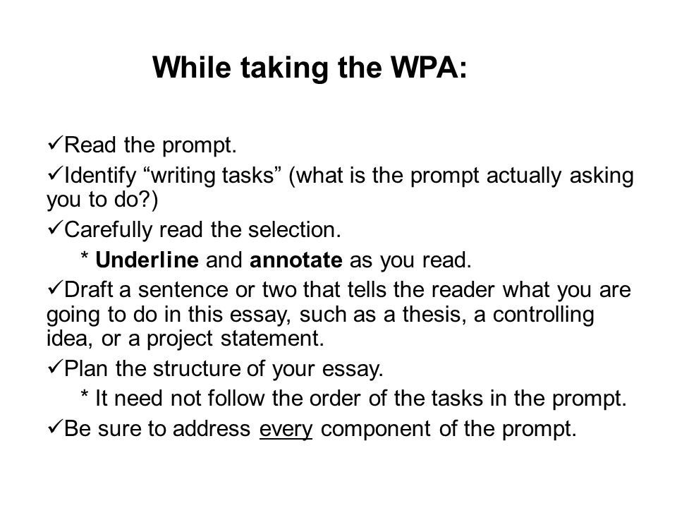 While taking the WPA: Read the prompt.