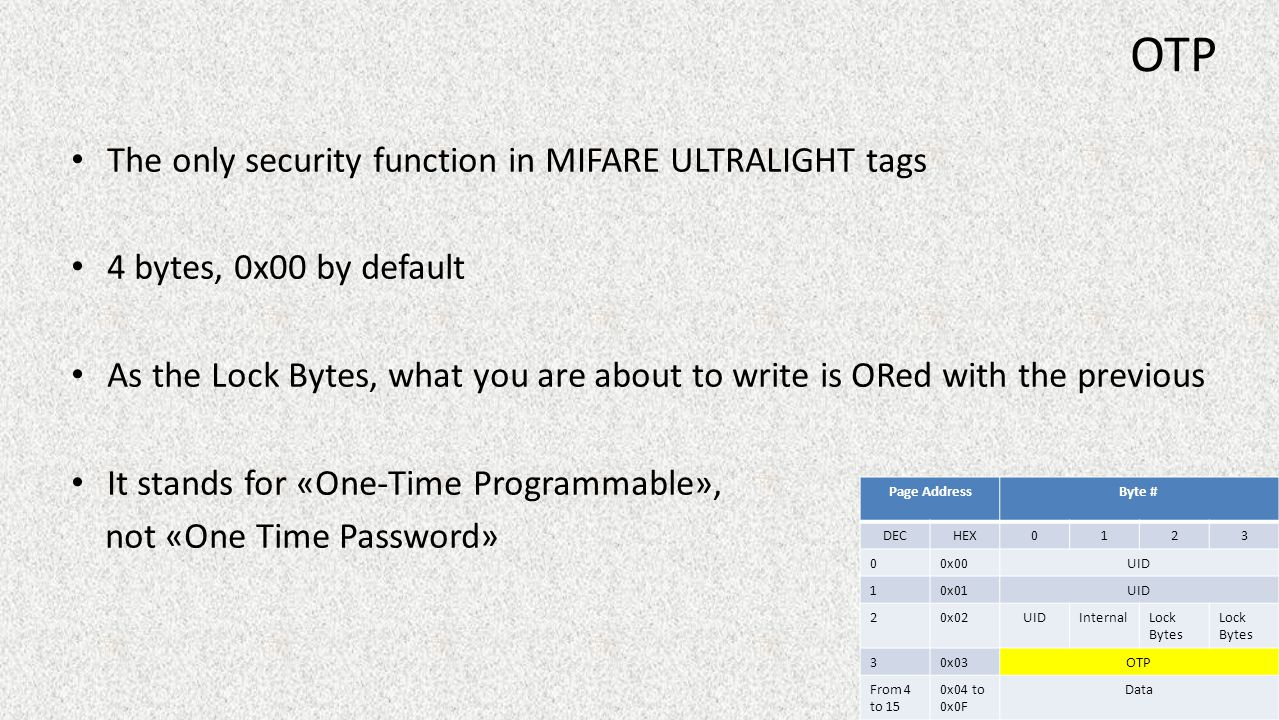OTP The only security function in MIFARE ULTRALIGHT tags