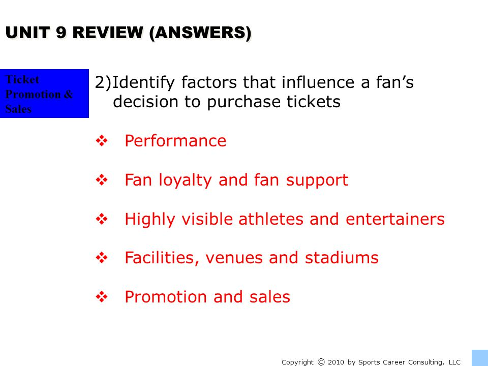 2)Identify factors that influence a fan's decision to purchase tickets
