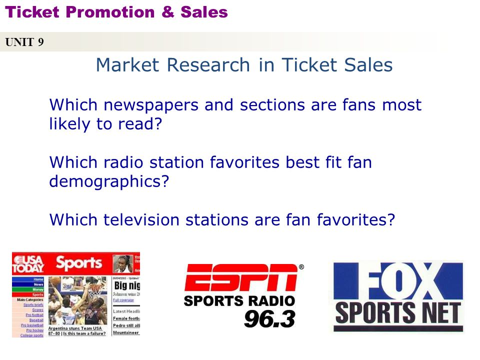 Market Research in Ticket Sales