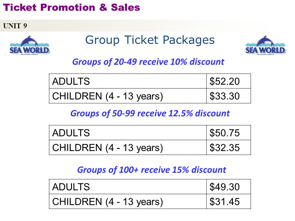 Group Ticket Packages Ticket Promotion & Sales