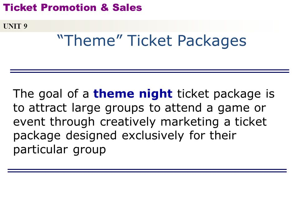 Theme Ticket Packages
