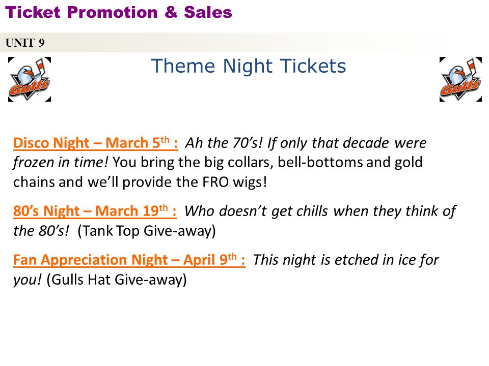 Theme Night Tickets Ticket Promotion & Sales