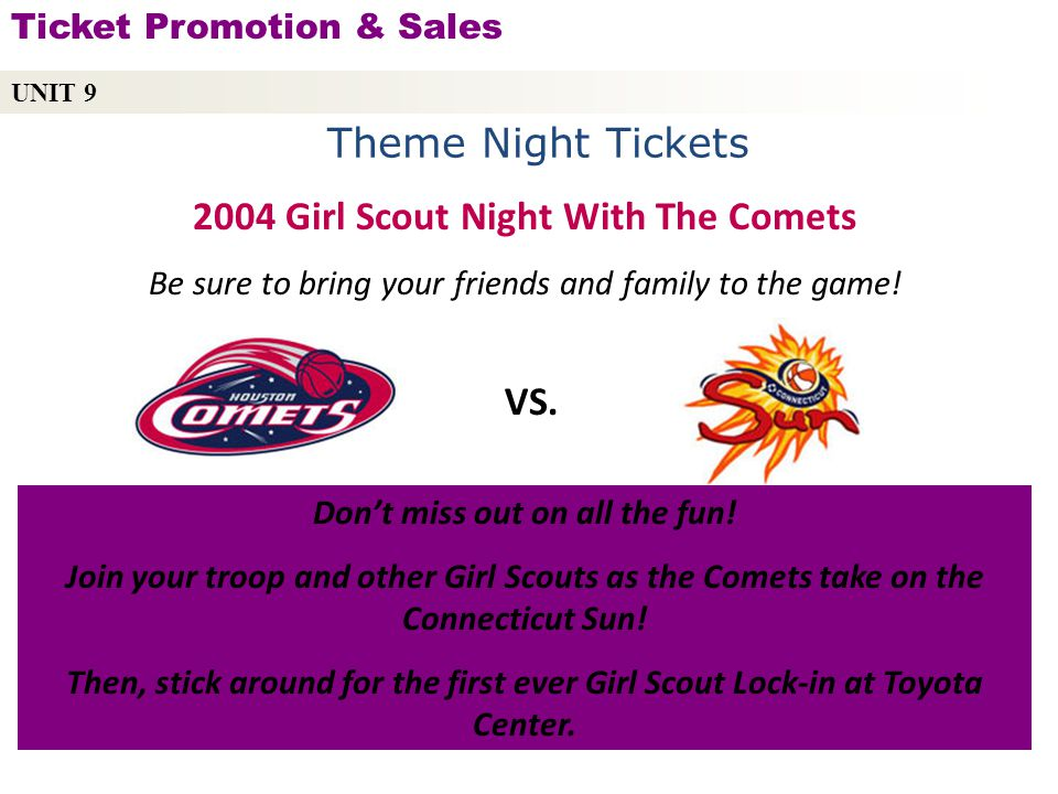 2004 Girl Scout Night With The Comets Don't miss out on all the fun!