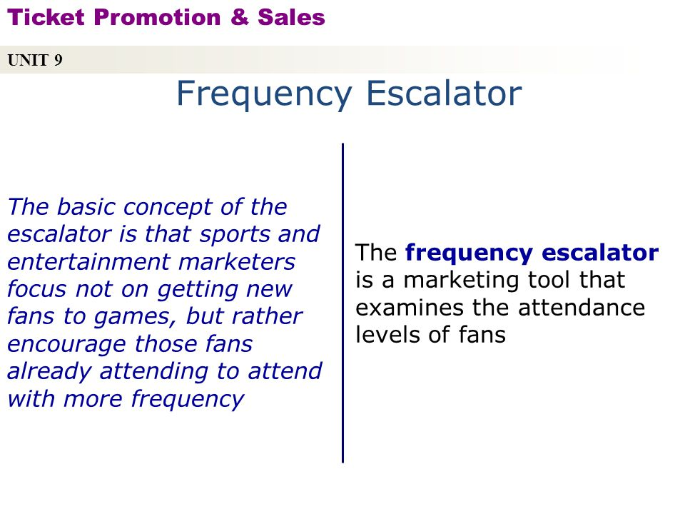 Frequency Escalator Ticket Promotion & Sales