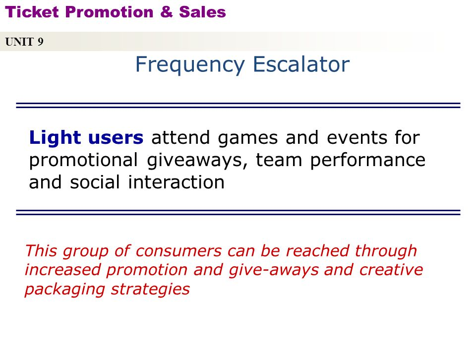 UNIT 9 Ticket Promotion & Sales. Frequency Escalator.