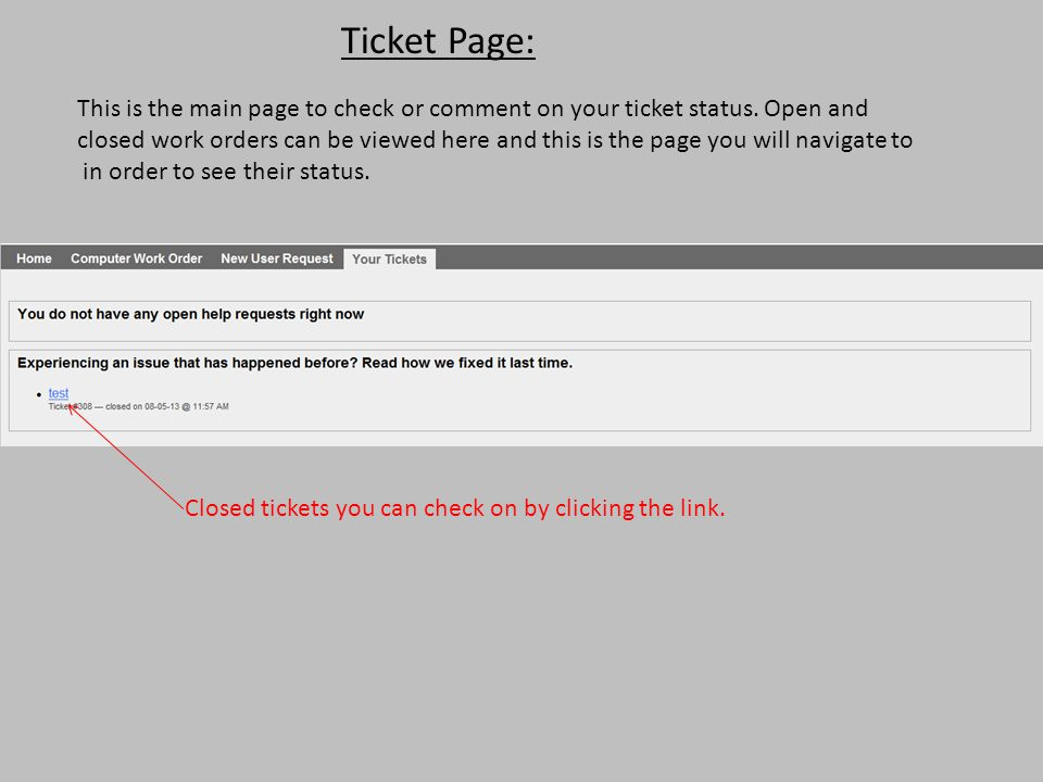 Ticket Page: This is the main page to check or comment on your ticket status