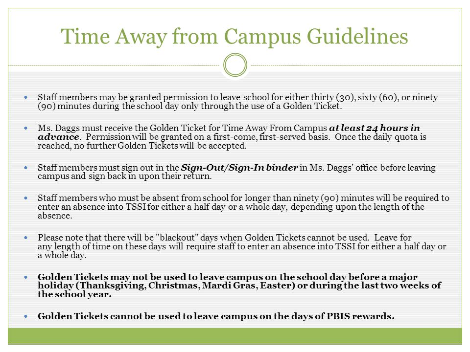 Time Away from Campus Guidelines