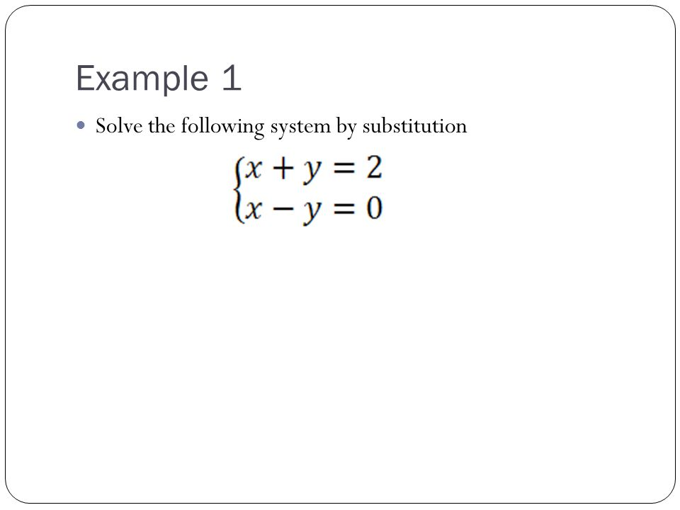 Example 1 Solve the following system by substitution