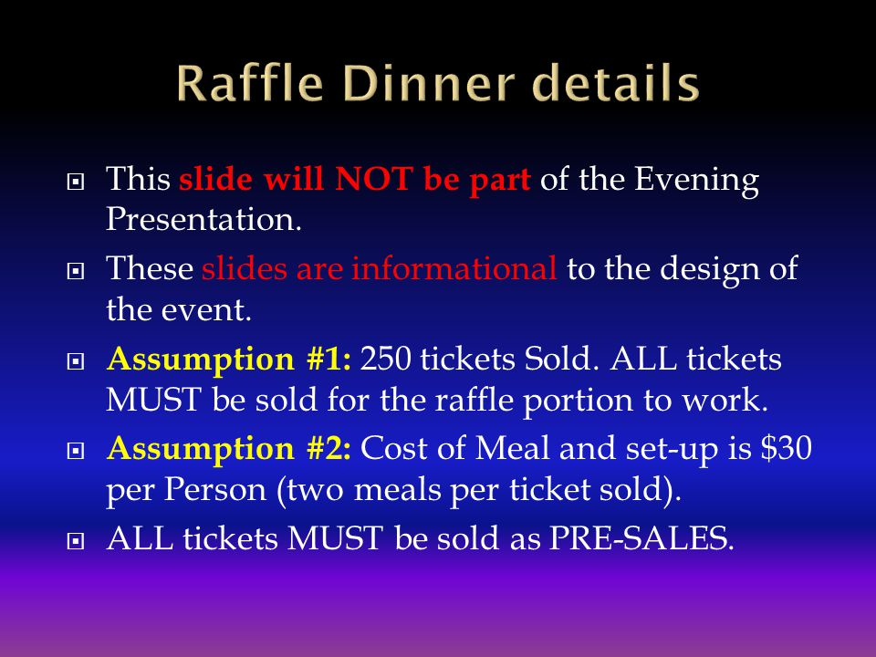 Raffle Dinner details This slide will NOT be part of the Evening Presentation. These slides are informational to the design of the event.