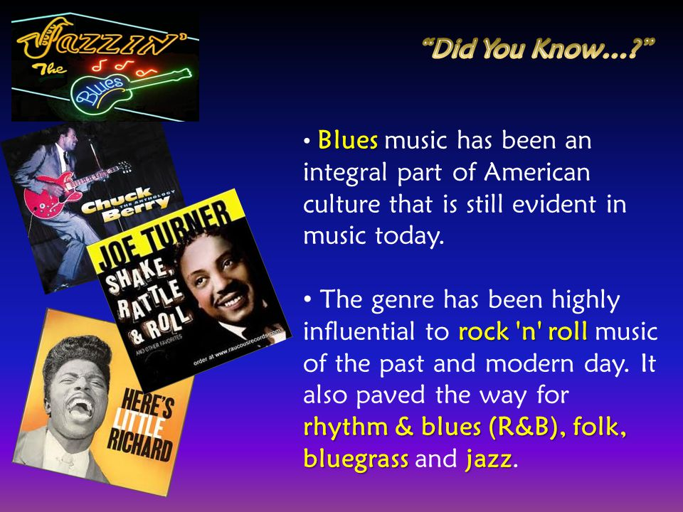 Did You Know… Blues music has been an integral part of American culture that is still evident in music today.