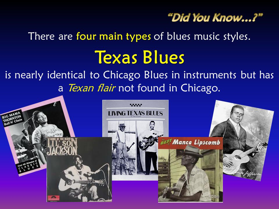 There are four main types of blues music styles.