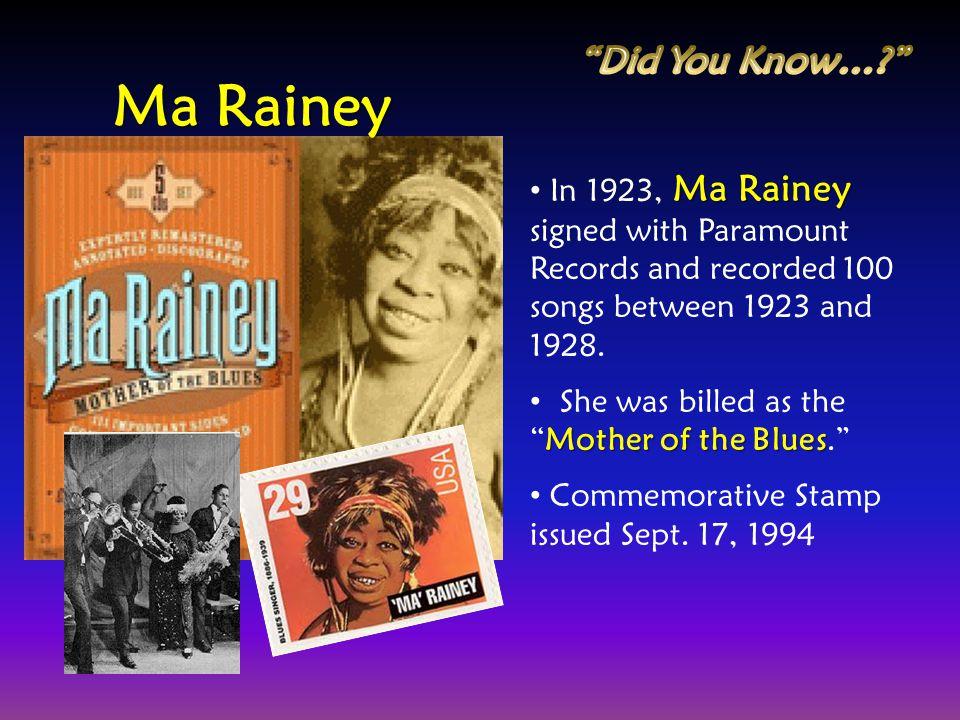 Ma Rainey Did You Know…
