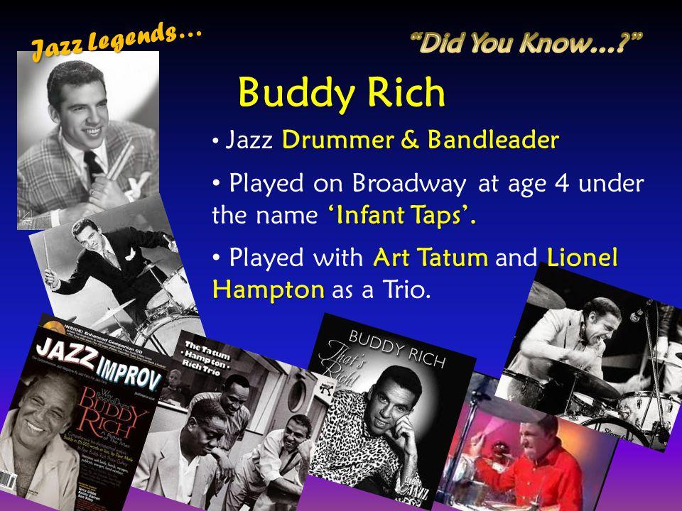 Buddy Rich Jazz Legends… Did You Know…