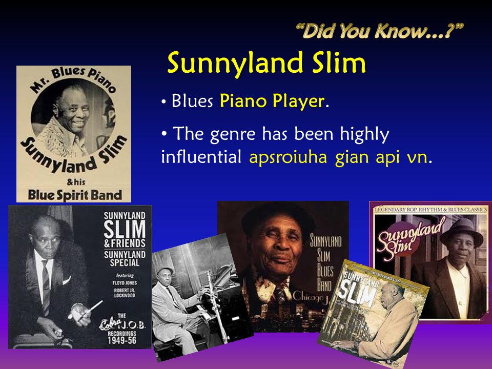 Sunnyland Slim Did You Know…