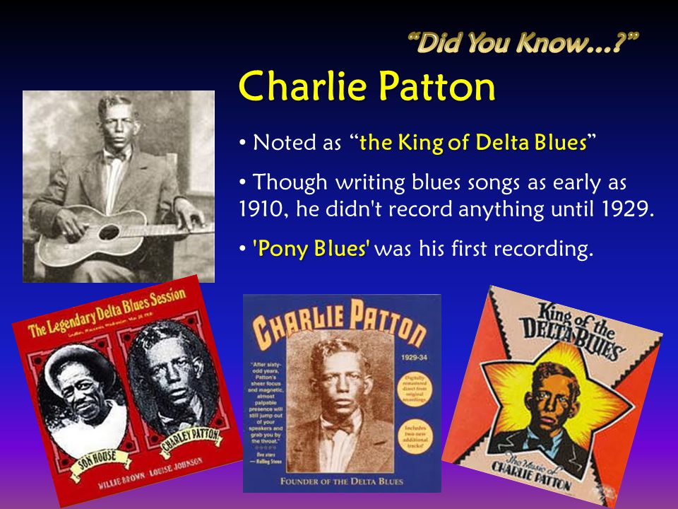 Charlie Patton Did You Know… Noted as the King of Delta Blues