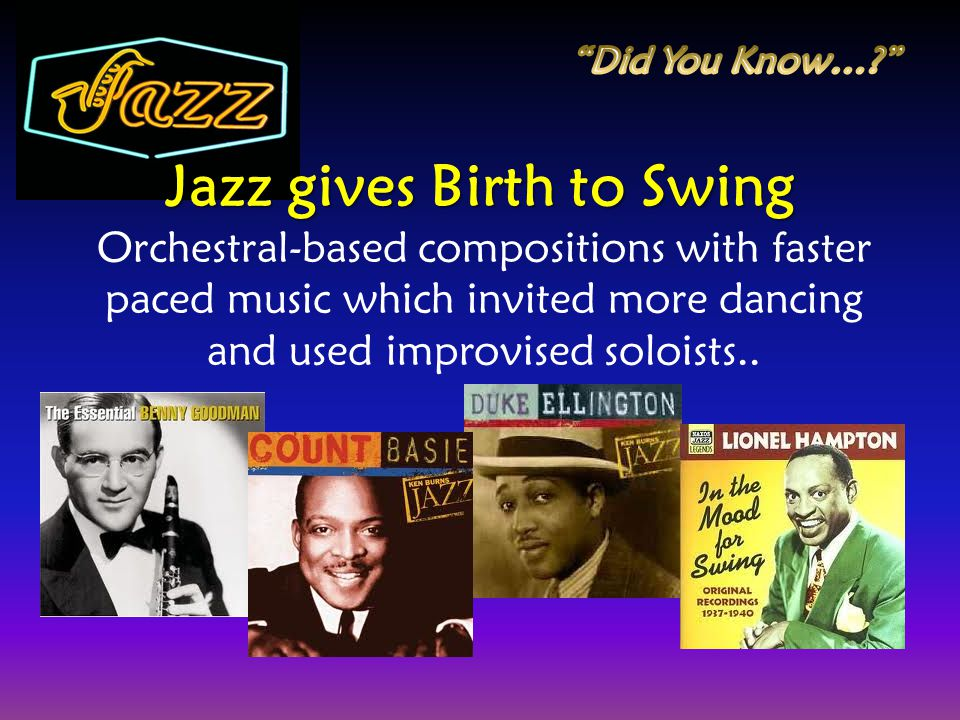 Jazz gives Birth to Swing