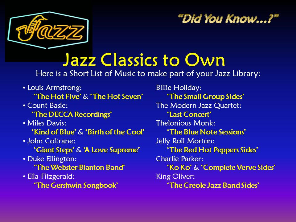 Here is a Short List of Music to make part of your Jazz Library: