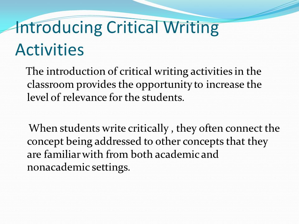 Introducing Critical Writing Activities