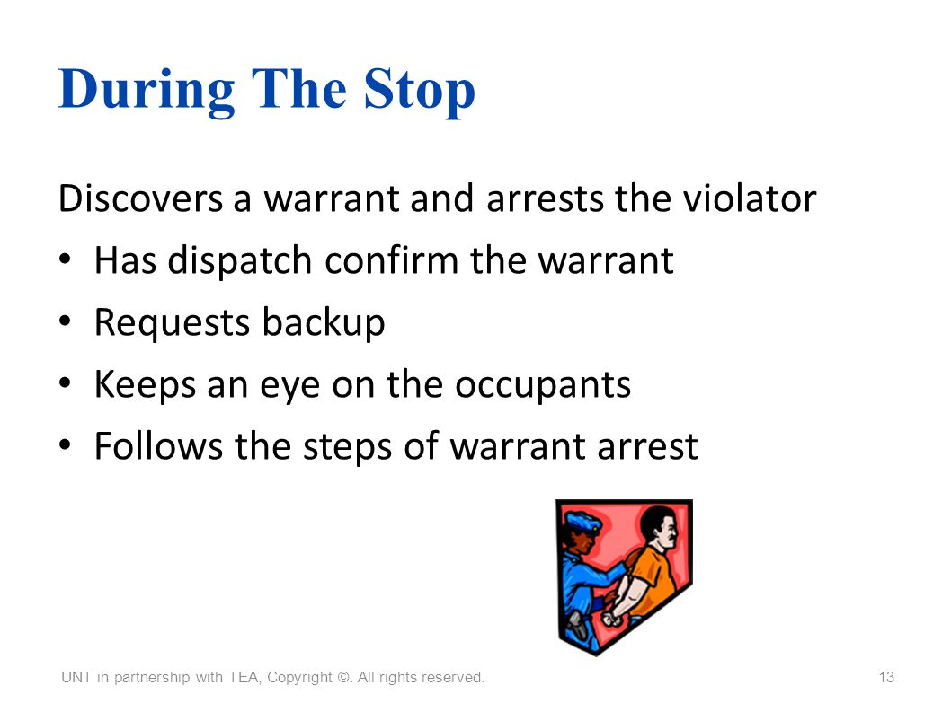 During The Stop Discovers a warrant and arrests the violator