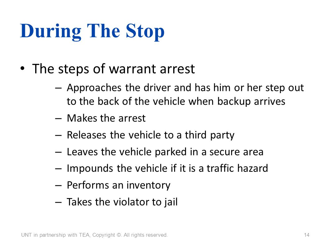 During The Stop The steps of warrant arrest