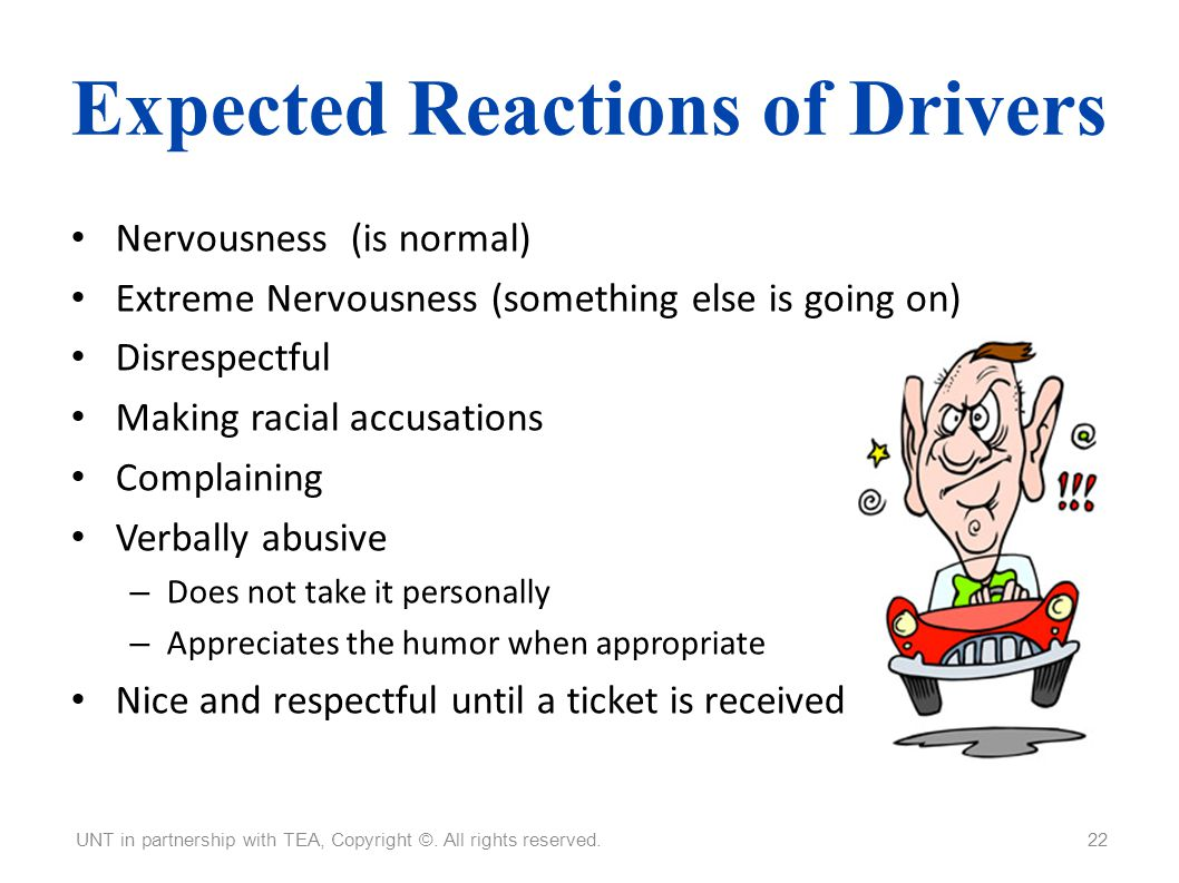 Expected Reactions of Drivers
