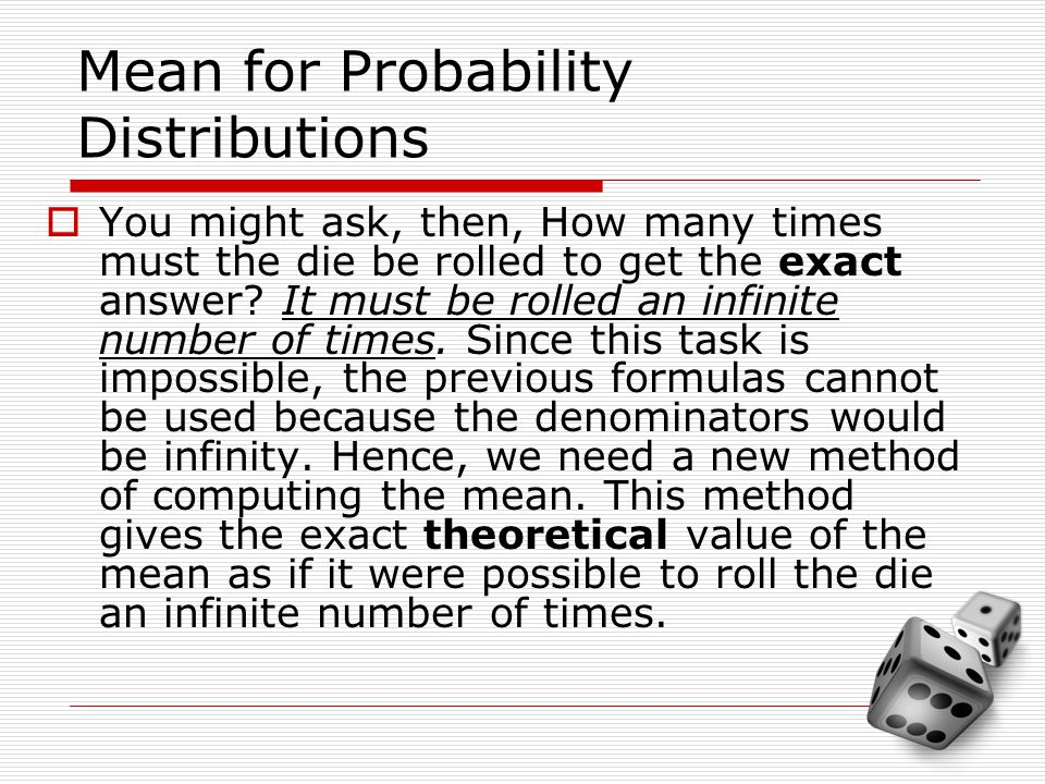 Mean for Probability Distributions